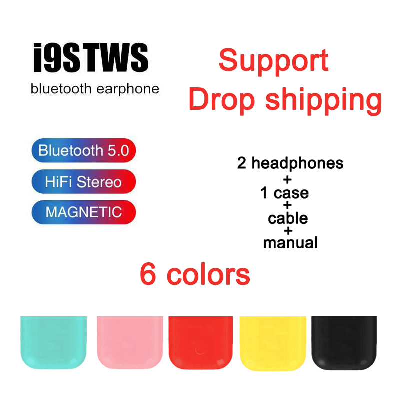 I9s TWS colorful Wireless mini Bluetooth Earbuds Wireless Headphones stereo Portable sports Bluetooth Headsets 5.0(China)