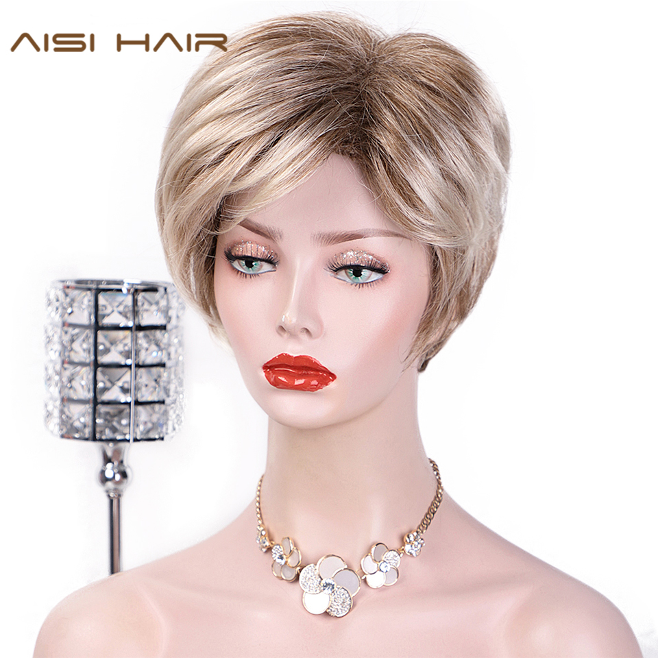 AISI HAIR Short Straight Ombre Blonde Wig With Bangs Light Brown Synthetic Wigs For Women Natural Two Tone Wigs Side Part Hair