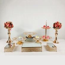 Cake-Stand-Set Pedestal Antique Display-Plate Cupcake Dessert Wedding Home-Decor Gold
