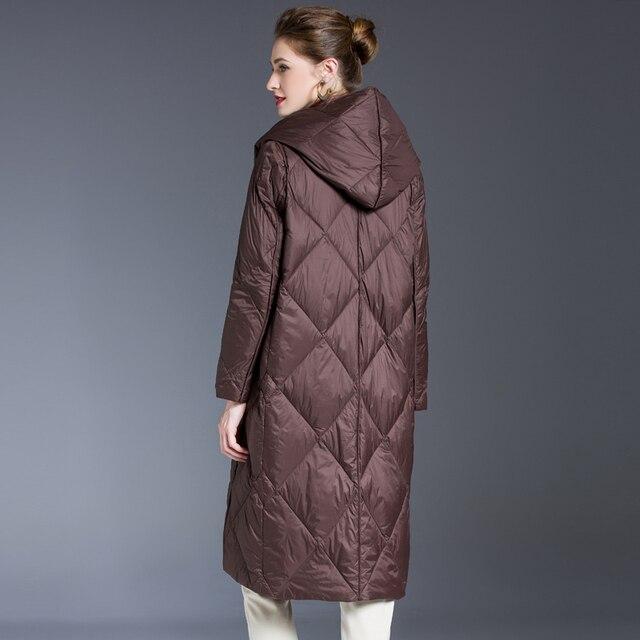 Blouson en duvet pour femme, blouson femme, doudoune légère, Ultra longue et chaude, Parka à capuche, vêtements d'hiver 2020 5