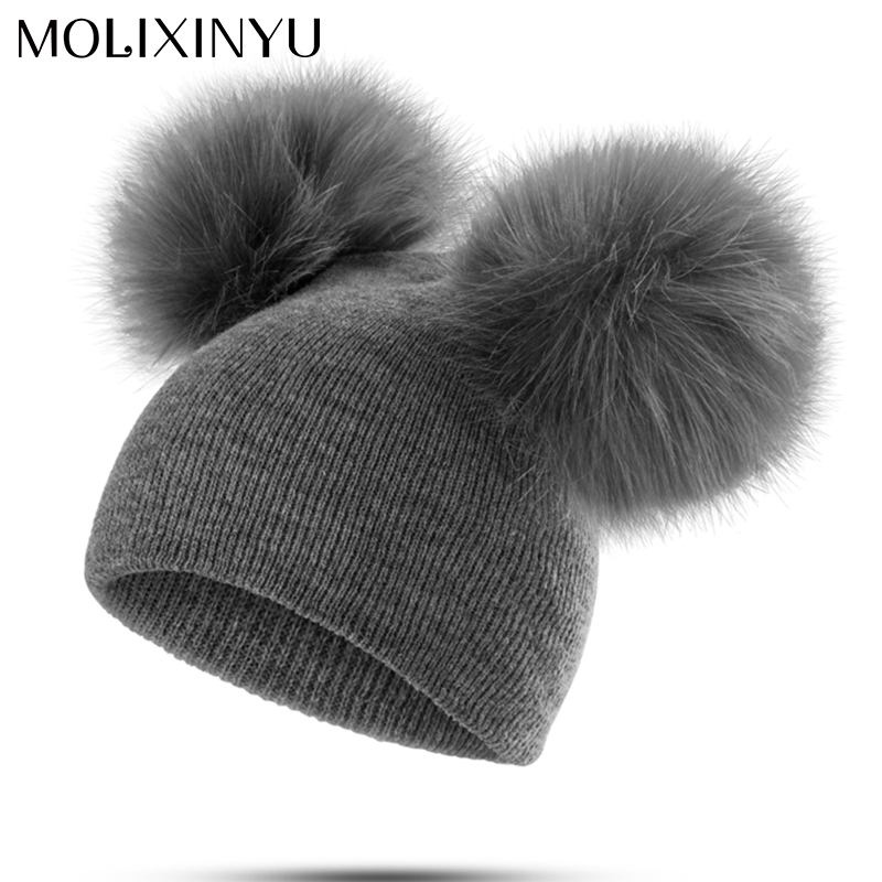 MOLIXINYU Children Hat Toddler Kids Baby Warm Winter Wool Hat Knit Beanie Fur Pom Pom Hat Baby Boys Girls Cap 1-3Y Drop Shipping