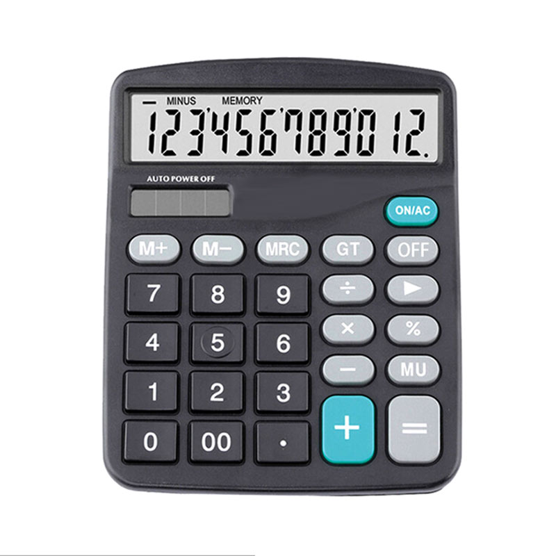 12 Digit Large Screen Calculator Fashion Black Computer Financial Accounting Counting Tool Functions Multifunctional Counter image