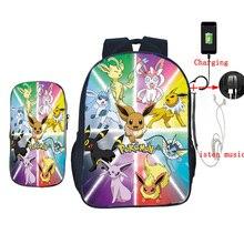 Pokemon Eevee 2 Pcs/set Backpack School Bags for Teenagers Girls Boys Laptop Travel USB Charging Rucksack Children Book Bags