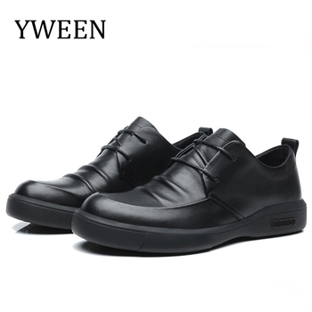 YWEEN Leather Casual Shoes Men Sneakers Flats Luxury Design Style Lace Up Walking New