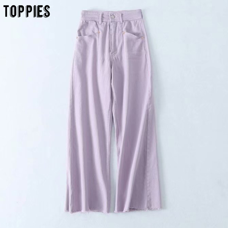 Toppies Fashion Purple Jeans Womens Wide Leg Denim Pants Ripped Tassel Bottoms High Waist Streetwear
