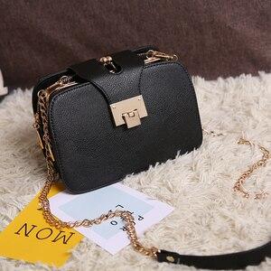 Image 5 - Kadın çantası zincir Crossbody omuzdan askili çanta Mini kadın telefon cebi zincir PU suni deri çanta küçük postacı çantası debriyaj 2019
