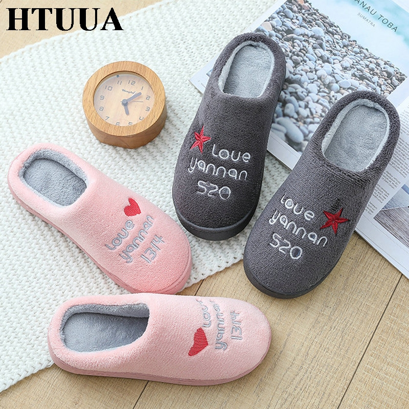 HTUUA Cotton Slippers Floor-Shoes House Couples Plush Winter Women Indoor Warm SX3183