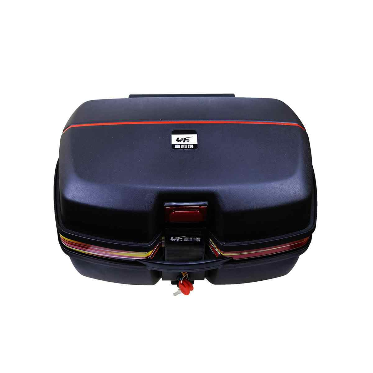 Universal Motorcycle Top Box Motorbike Trunk Helmet Storage Box and Fittings with Night Warning Light Strong Durable Luggage Storage Back Case 413527cm