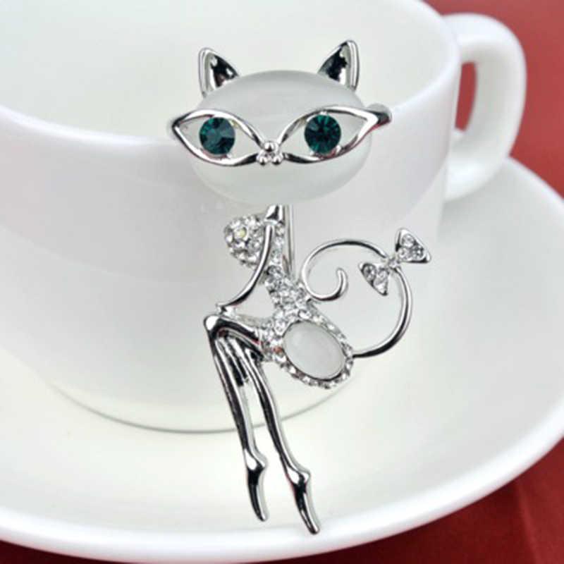 7 stili di Super Sveglio del Gattino del Gatto Pietra Occhio Spilla Coda Lunga Gatti Neri Spille Elegante Strass Animale Spille Moda Bigiotteria