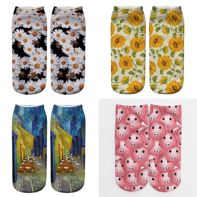 3D Druck Daisy Socken Frauen Harajuku Lustige Van Gogh Kunst Kurze Socken Baumwolle Weibliche Kawaii Nette Frau Knöchel Socken