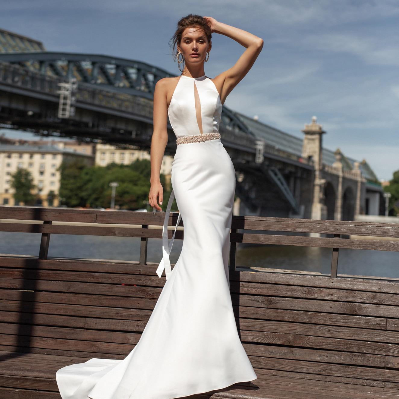 Mermaid Wedding Dress With Sashes 2020 Vestido De Noiva Vintage Satin Halter Backless Bridal Gowns Custom Made Floor Length