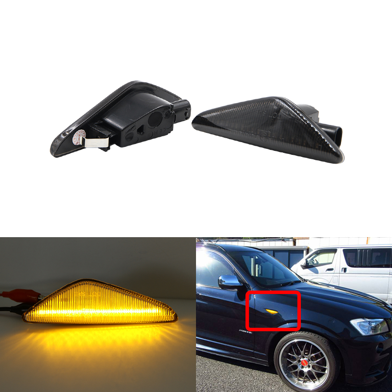 OEM Fits For BMW E70 E71 E72 X5 X6 F25 X3 2007-2012 Smoke Black Amber Front Led Side Marker Lights Turn Signal <font><b>Lamp</b></font> DOT SAE <font><b>E4</b></font> image