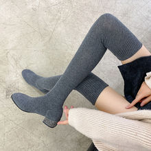 Women's Over The Knee Sock Boots Knitting Sock Boots Pointed Toe Elastic Slim Female thigh high boots flat botas de mujer shoes
