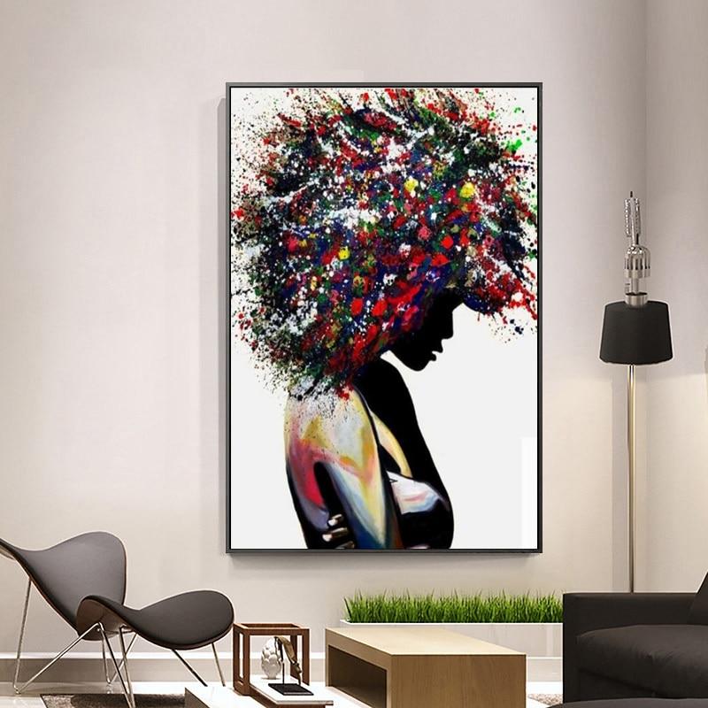 Pinturas en lienzo para pared de chica abstracta moderna, pósteres e impresiones artísticos de Graffiti, arte de la calle, cuadros de pared de chica negra, decoración del hogar
