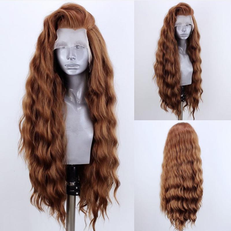Rongduoyi longo ondulado peruca de renda resistente ao calor do cabelo peruca dianteira do laço sintético para as mulheres parte lateral alta temperatura cosplay perucas
