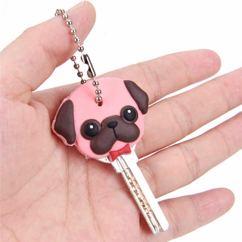 1 PC Silicone Chìa Khóa Nắp Che Đầu Móc Khóa Ốp Lưng Vỏ Cat Hamster Chó Pug Động Vật Hình Đáng Yêu Món Quà Trang Sức