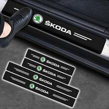 Protecteur de seuil de porte de voiture en Fiber de carbone, autocollant pour skoda Rapid Yeti GreenLine Octavia, bande dessinée, Kodiak GT A7, Fabia Superb, 4 pièces