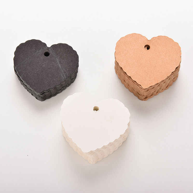 100 Pcs/lot Heart shape Kraft Paper Hang Tags Wedding Party Favor Label Price Gift Card 5.8cm x 5.5cm