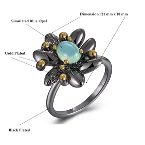 Image 5 - DreamCarnival1989 Vintage Flower Rings + Earrings Women Wedding Party Simulated Blue Opal Stone Black Gothic Jewelry  ER3890S2