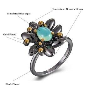 Image 5 - DreamCarnival1989 винтажные кольца с цветами + серьги для женщин для свадебной вечеринки имитация синего опала камень черный готический ювелирные изделия ER3890S2