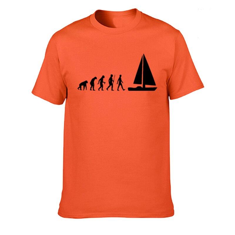 Fashion Evolution Sail Boat T-shirt Men Summer Style Cotton Short Sleeve T Shirt Funny Tee Mans Tops Clothing XS-3XL