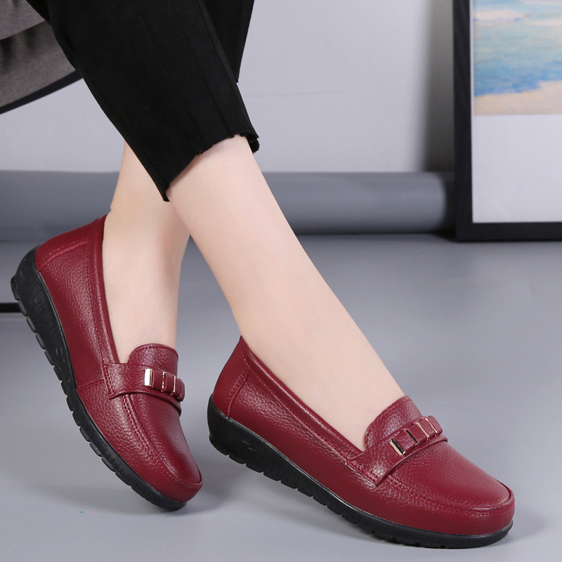 Women shoes genuine leather loafers non-slip solid color casual shoes ladies 2021 new fashion flats woman shoes zapatos de mujer