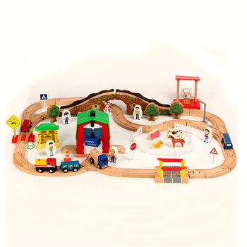 68pcs farm small train track car building block track train toy set compatible with wooden small train track children train game фото