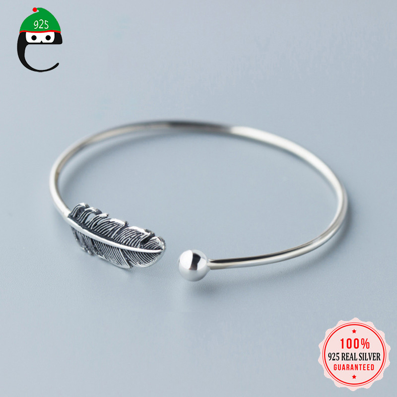 ElfoPlataSi 2019 100% 925 Real Sterling Silver Jewelry Cute Round Feather 5.6cm Width Opening Bangle Bracelet Girls Gift XY659