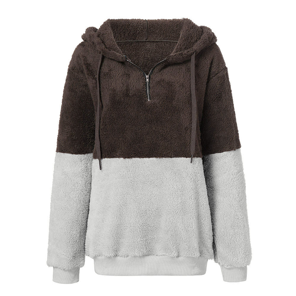 Women Hoodies Sweatshirt Winter Plush Fleece Warm Hooded Sweatshirt Coat Black Pink Wool Zipper Coat Cotton Outwear Sudadera