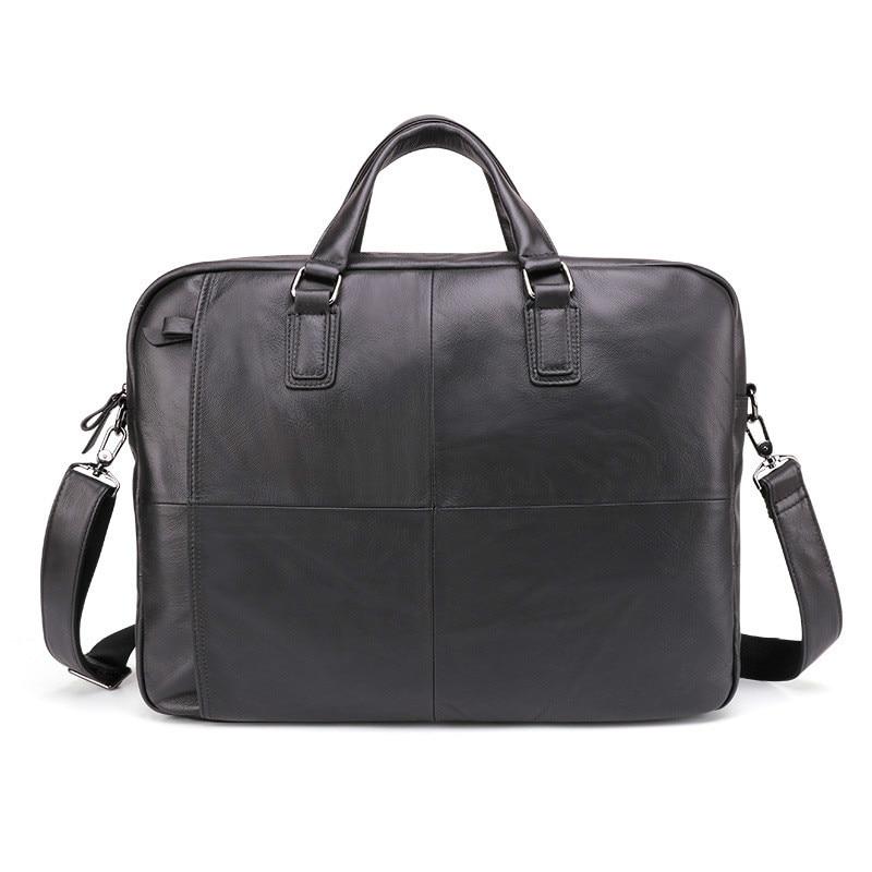 2019 porte-documents pour hommes en cuir véritable grande capacité sac d'affaires noir mâle 17in pochette d'ordinateur Messenger sac à bandoulière GW12
