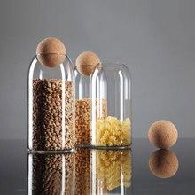 Пробковая Бессвинцовая стеклянная бутылка, герметичная жестяная банка с крышкой, милые банки для хранения цветов и чая, маленькие круглые прозрачные домашние банки YHJ112211