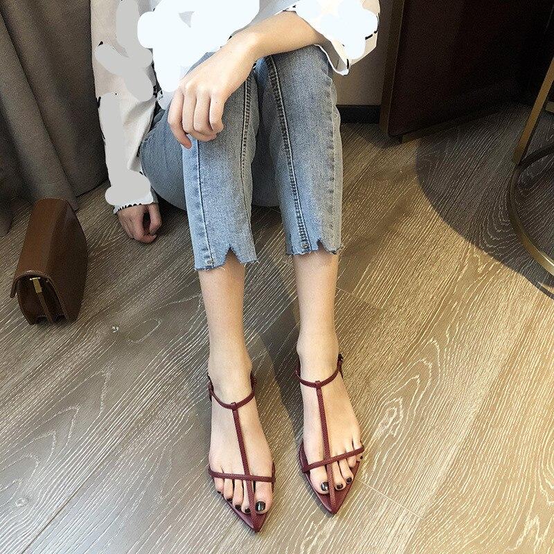 Ankle Strap All-Match Roman Sandals Flat Summer Shoes Woman 2020 Women's Suit Female Beige Flip Flops Platform Buckle Gladiator(China)