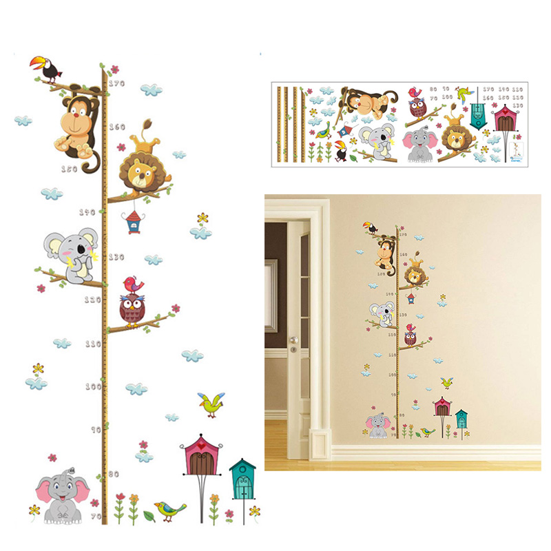 Cartoon Animals Wall Sticker Kids Baby Height Chart Measurement Decal Removable