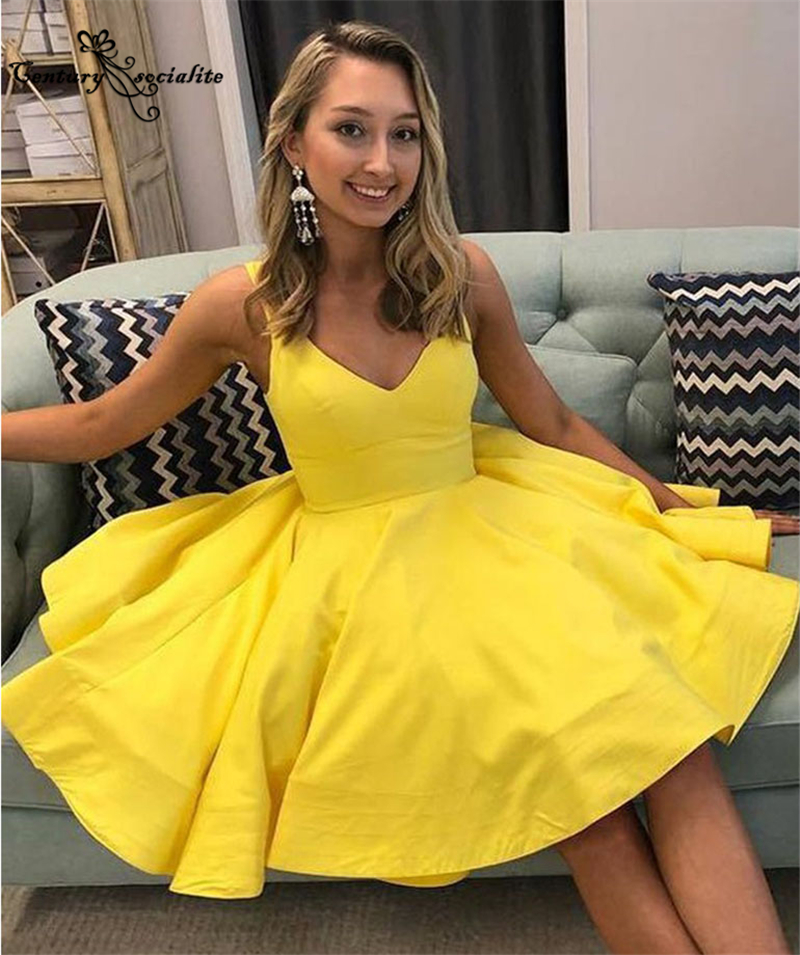 Simple Yellow Homecoming Dresses Short 2021 Above Knee Satin Mini Prom Dresses Sexy Party Gowns Vestido De Fiesta Cheap