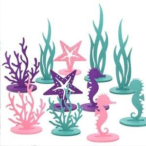 Mermaid Party Supplies Little Mermaid Decoration Seahorse Starfish Felt Table Ornament Girl Birthday Party Baby Shower Decor