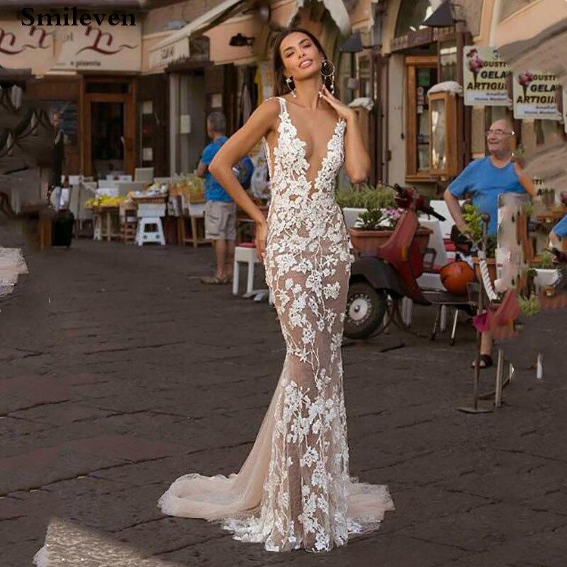 Smileven Champagne Lace Mermaid Wedding Dress 2019 Beads Bride Dresses Deep V Neck Vestido De Noiva Wedding Gowns
