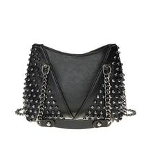 Black Rivet Handbags Crossbody Bags For Women New 2019 Luxury Leather Shoulder Vintage Handbgas