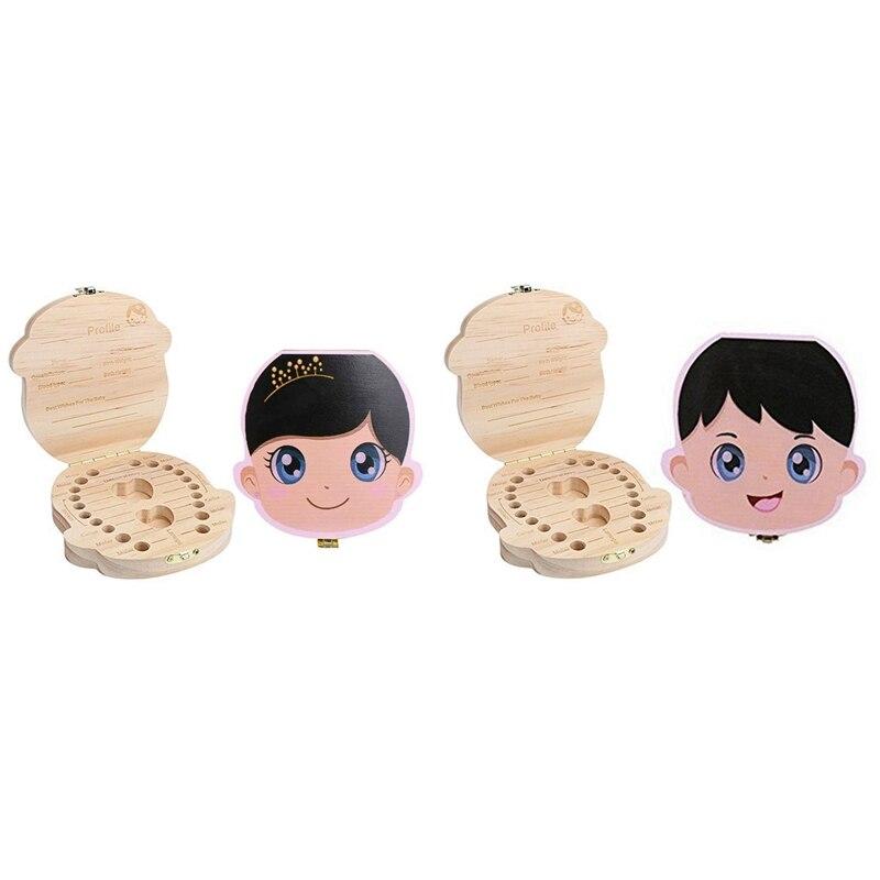 Hot-2 Pcs New Kids Tooth Box Organizer For Baby Save Milk Teeth Wood Storage Box , Boy & Girl
