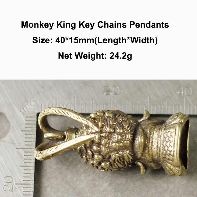 Vintage Tembaga Monkey King Gantungan Kunci Liontin Retro Kuningan Cina Super Hero Sun Wukong Patung Hiasan Pria Mobil Gantungan Kunci