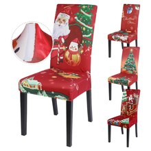 Chair-Covers Elastic-Seat Stretch Xmas Christmas Printed Banquet for Party