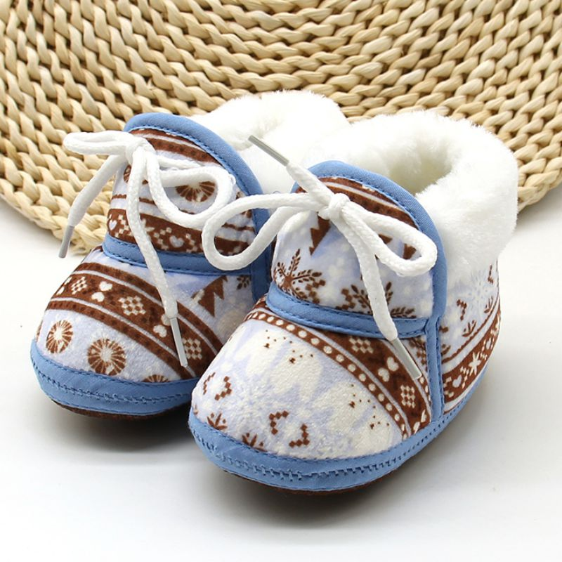 Spring Warm Baby Boots Shoes  Baby Retro Printing Shoes Cute Soft Cotton Padded Infant Baby Boys Girls Soft Boots 6-12M
