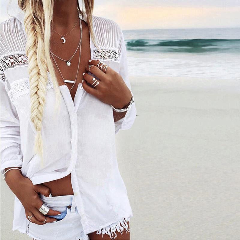 Women Boho Summer Beach Lace tops and Blouse elegant Long Sleeve harajuku tee Shirt femme white vintage camisa feminina