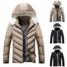 Зимняя куртка мужская Повседневная зимняя однотонная теплая куртка на молнии с длинными рукавами и капюшоном стильный пиджак куртки для бега и 4S26