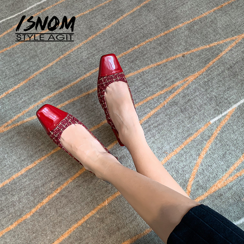 ISNOM Women Pumps Sexy Slingback Buckle Chunky High Heels Square Toe Plaid Patent leather Block Heel Slip On Party Dress Shoes
