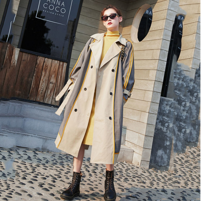 LANMREM 2020 Original Retro Hit Color Plaid Windbreaker Women's Collar Striped Double-breasted Long Coat Loose Spring 19B-a380