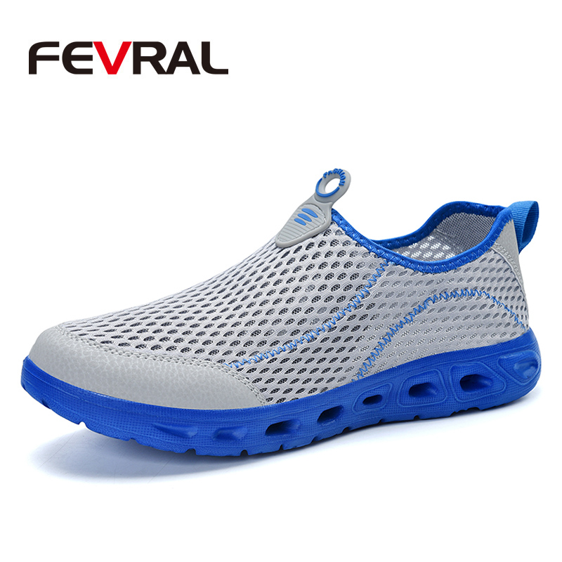 Men Breathable Leather Sandals Outdoor Hiking Open Toe Beach Water Shoes Slip On