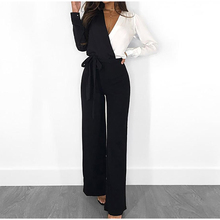 Spring Panelled Long Sleeve Women Jumpsuits Sexy V-neck Lace Up Romper Female Jumpsuit 2021 Summer Elegant Casual Fashion Ladies