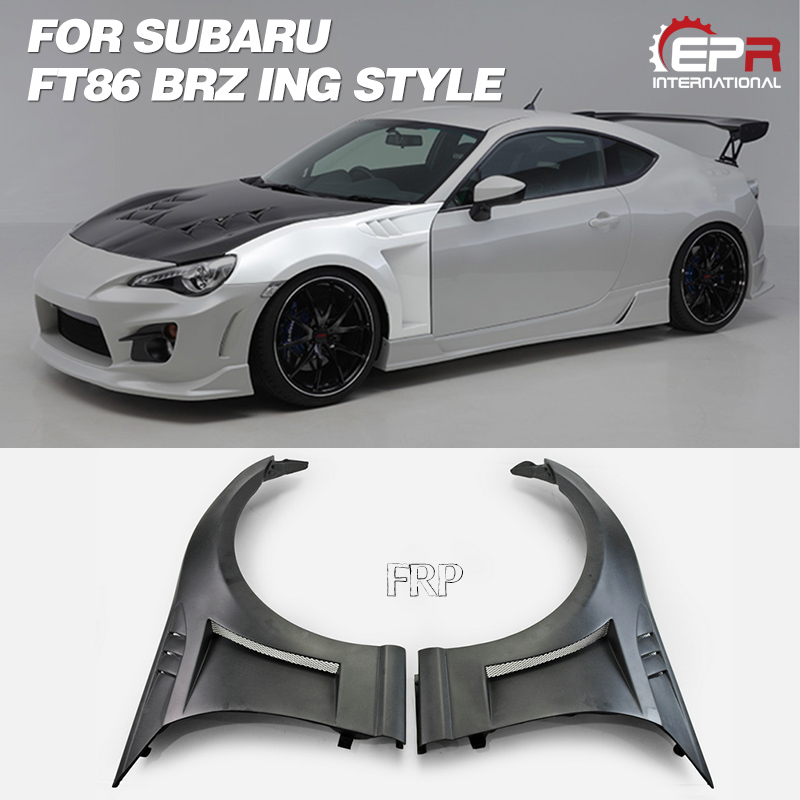 Car-styling ING Style FIberglass Front Vented Fender FRP Fiber Glass Wheel Flare Arch Cover With Air Duct Kit Fit For 13-16 BRZ