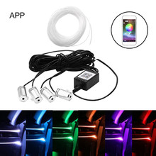 New Car Interior Light Sound Active Neon Wire Strip Light RGB LED Multicolor Bluetooth Phone Control Atmosphere Light(China)