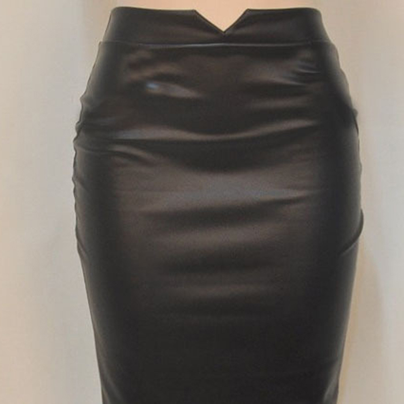 Autumn Faux Leather Skirt Europe The United States Wild Fake Leather High Waist Hip And Knee Skirts Open Bag Hip Skirt Wholesale